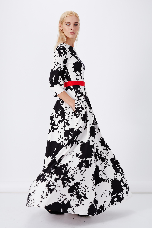 Платье черно белые цветы